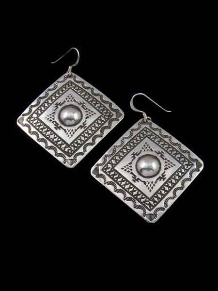 Native American Jewelry Stamped Sterling Dangle Earrings