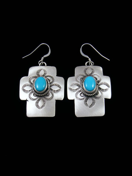 Native American Jewelry Turquoise Cross Dangle Earrings