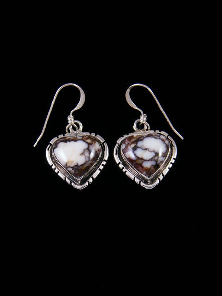 Native American Wild Horse Heart Sterling Silver Dangle Earrings