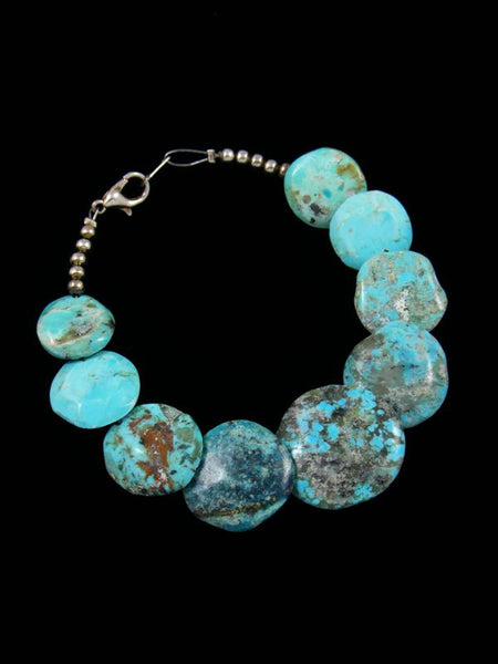 Native American Indian Jewelry Turquoise Disc Bead Bracelet