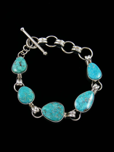 Native American White Water Turquoise Link Bracelet