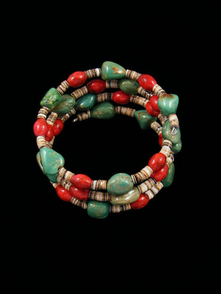 Native American Turquoise and Apple Coral Bead Wrap Bracelet