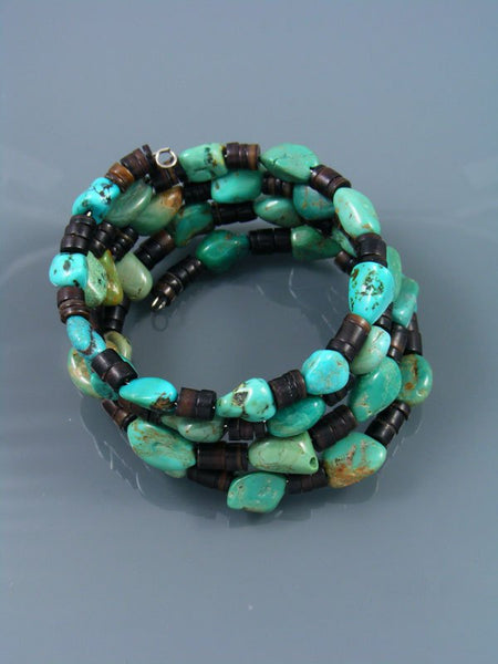Native American Turquoise and Penn Shell Bead Wrap Bracelet
