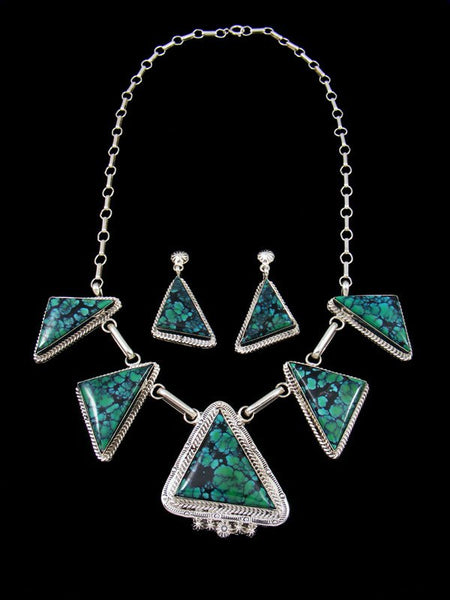 Navajo Cloud Mountain Turquoise Tear Drop Necklace Set