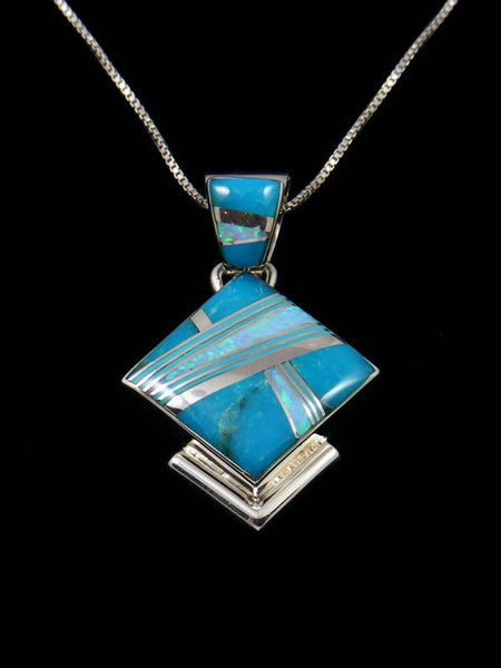 Native American Inlay Opalite and Turquoise Pendant