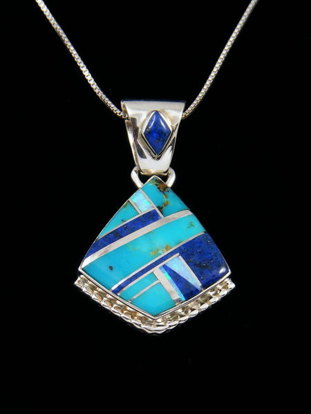 Navajo Inlay Lapis and Turquoise Pendant