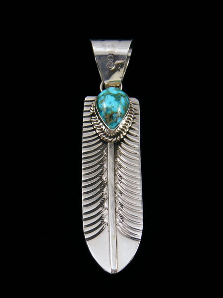 Navajo Sterling Silver Turquoise Feather Pendant