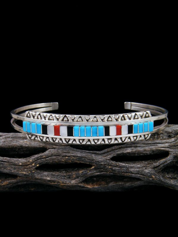 Native American Jewelry Zuni Turquoise Inlay Cuff Bracelet By