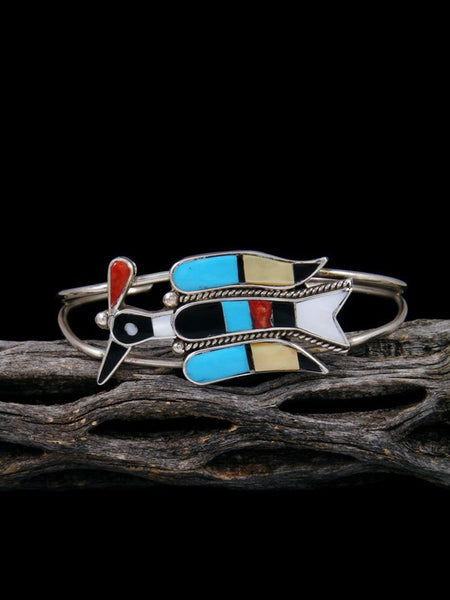 Native American Jewelry Zuni Turquoise Inlay Waterbird Cuff Bracelet