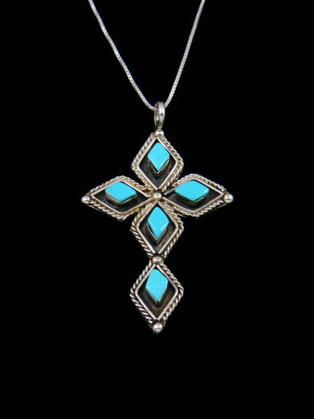 Sterling Silver Zuni Turquoise Cross Pendant Necklace