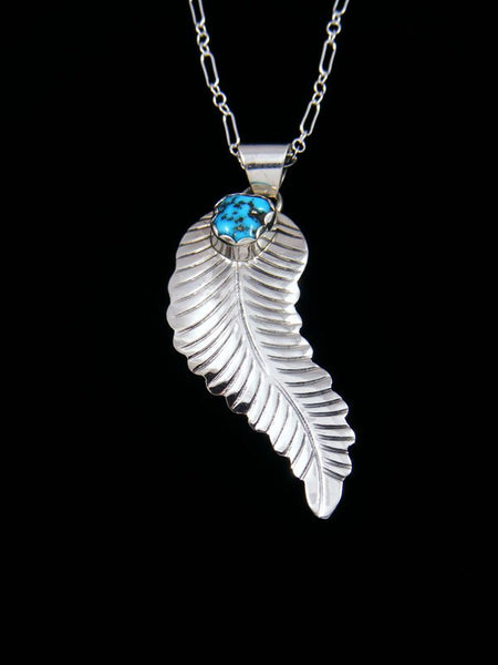 Sterling Silver Turquoise Navajo Feather Pendant