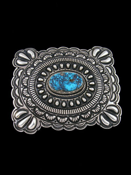 Native American Indian Natural Kingman Turquoise Sterling Silver Buckle