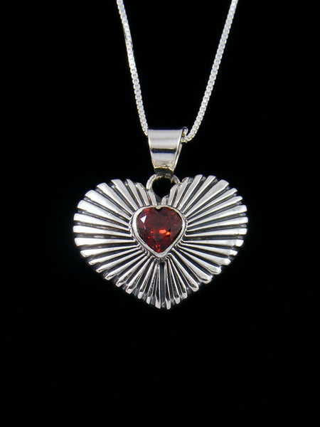 Native American Red Garnet Sterling Silver Heart Pendant