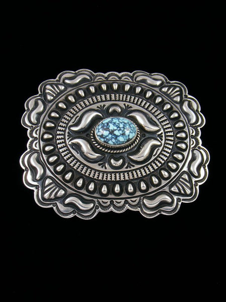 Native American Indian Cloud Mountain Turquoise Sterling Silver Buckle