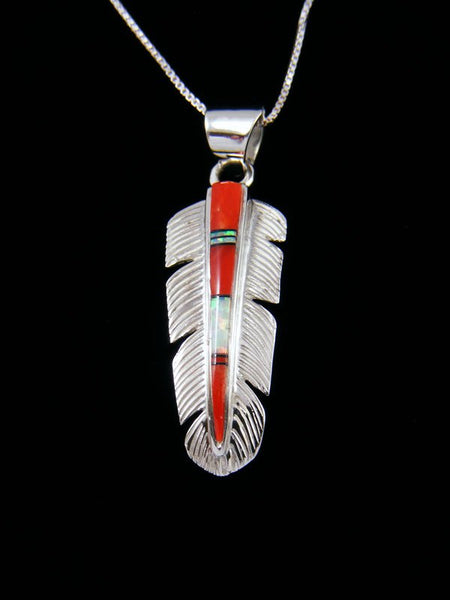 Native American Inlay Coral and Opalite Feather Pendant