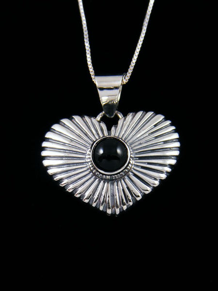 Native American Black Onyx Sterling Silver Heart Pendant
