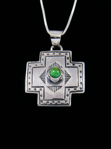 Navajo Sonoran Gold Turquoise Sterling Silver Cross Pendant
