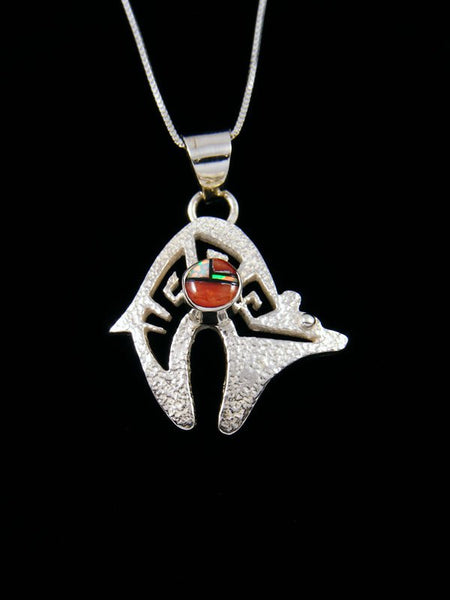 Navajo Indian Sterling Silver Inlay Bear Pendant