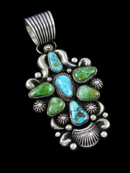 Native American Kingman and Sonoran Turquoise Sterling Silver Pendant
