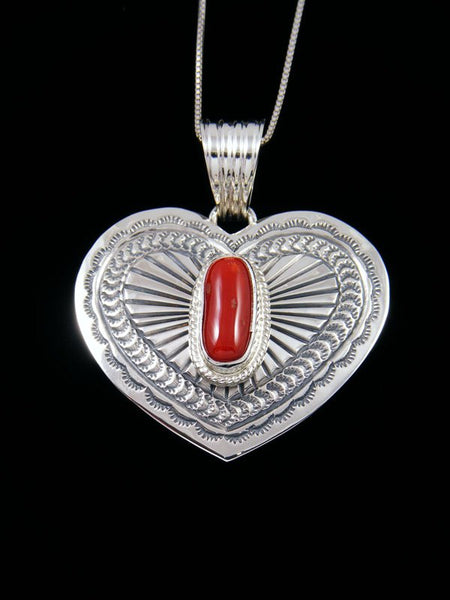 Native American Red Coral Sterling Silver Heart Pendant
