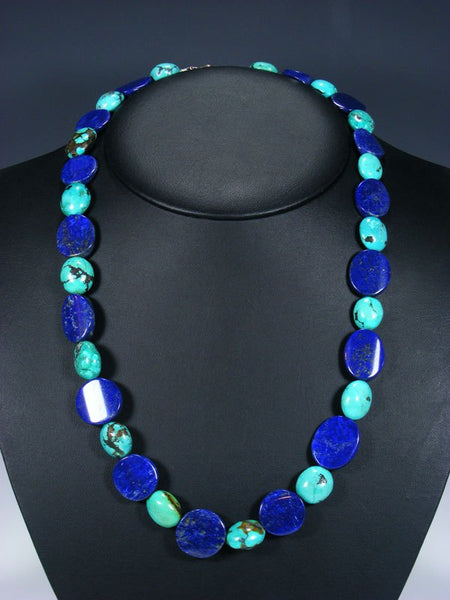 Native American Indian Santo Domingo Chunky Turquoise and Lapis Necklace