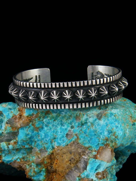 Large Native American Sterling Silver Star Burst Cuff Bracelet