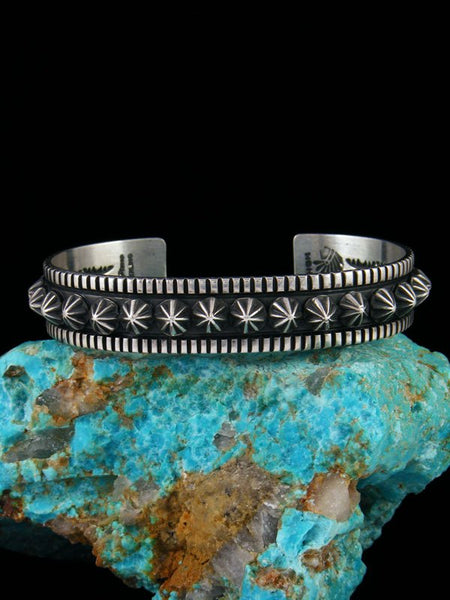 Medium Native American Sterling Silver Star Burst Cuff Bracelet