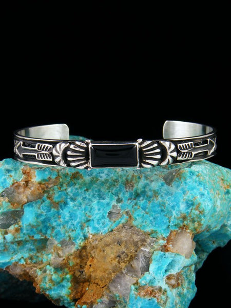 Native American Indian Jewelry Black Onyx Cuff Bracelet