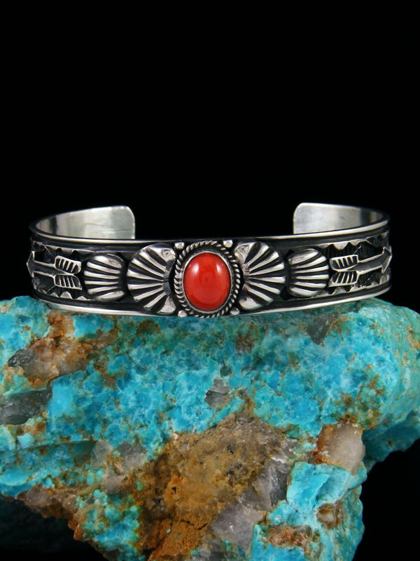 Native American Indian Jewelry Coral Cuff Bracelet