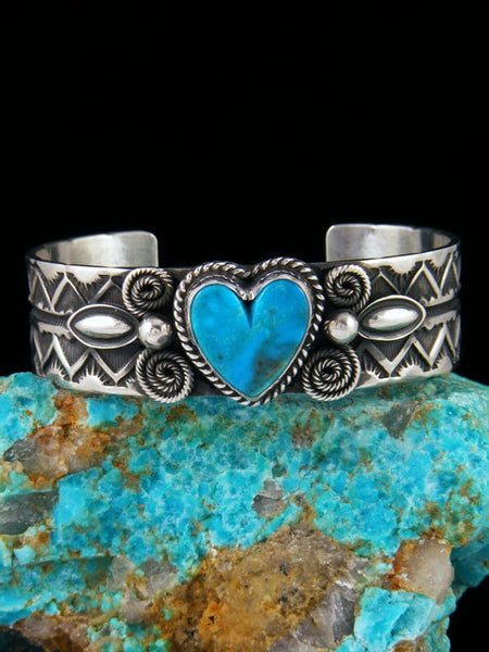 Native American Jewelry Sterling Silver Turquoise Heart Cuff Bracelet