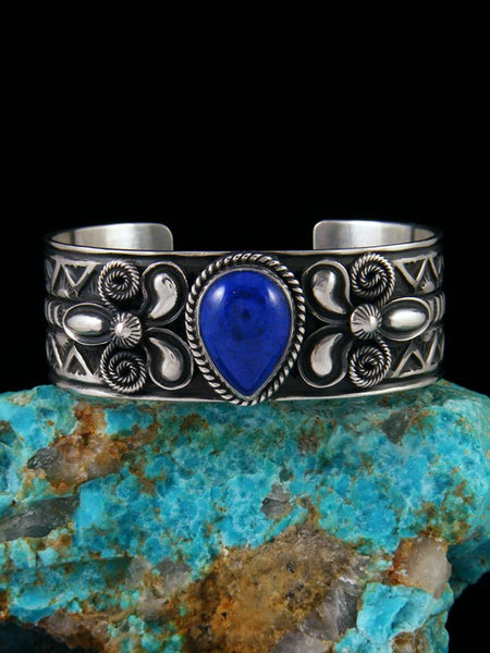 Native American Sterling Silver Deep Blue Lapis Cuff Bracelet