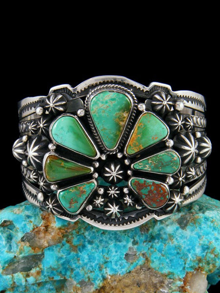 Native American Sterling Silver Royston Turquoise Squash Cuff Bracelet