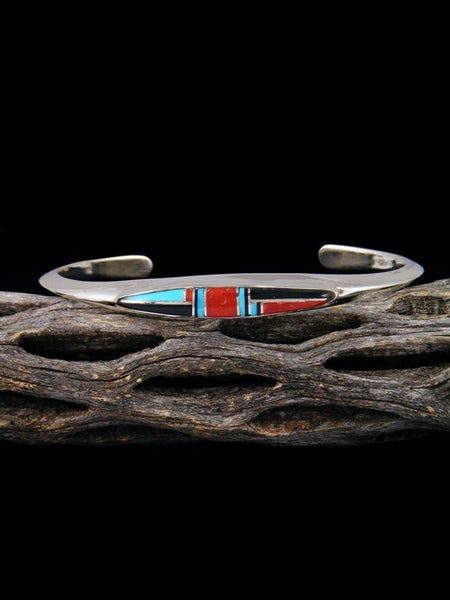 Navajo Sterling Silver Turquoise and Onyx Inlay Cuff Bracelet