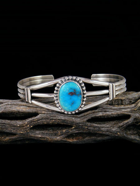 Native American Sonoran Rose Turquoise Sterling Silver Cuff Bracelet