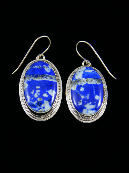 Sterling Silver Navajo Blue Lapis Dangle Earrings