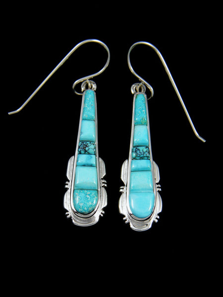 Navajo Blue Moon Turquoise Inlay Earrings