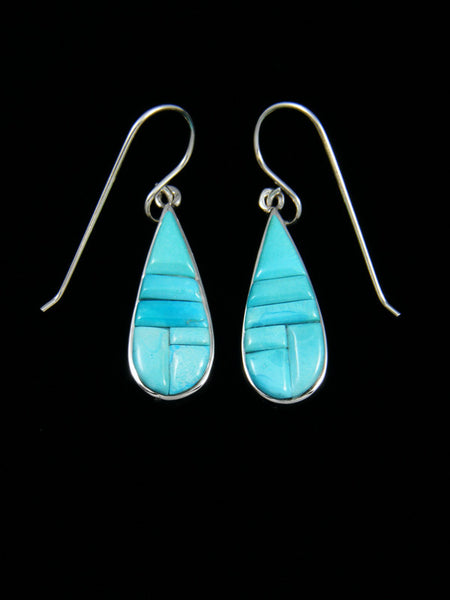 Navajo Blue Moon Turquoise Inlay Dangle Earrings
