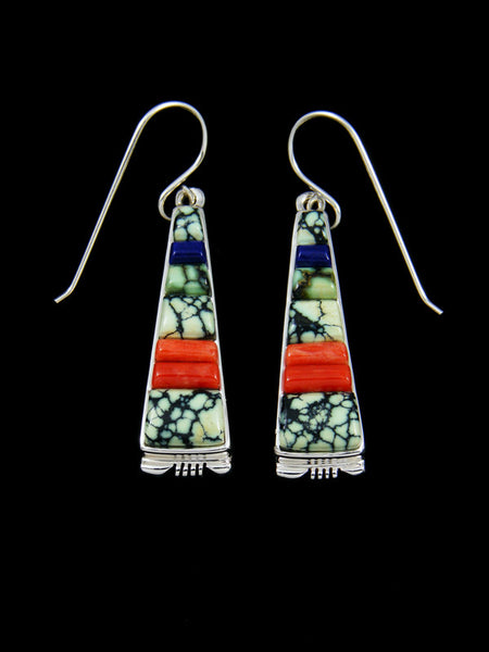 Navajo Cobblestone New Lander Variscite Inlay Dangle Earrings
