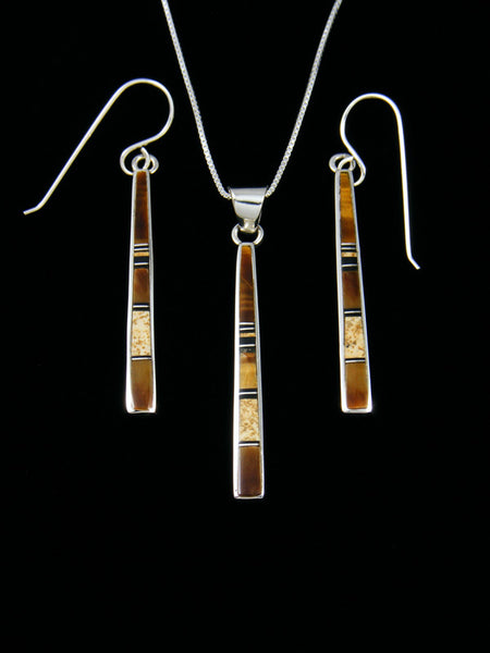 Tiger Eye Inlay Necklace and Earrings Set