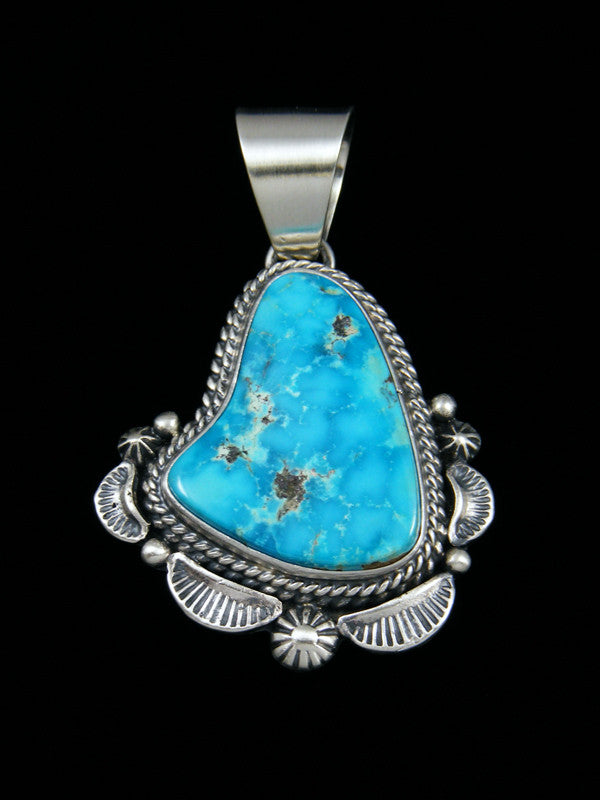 Native American Sterling Silver Morenci Turquoise Pendant