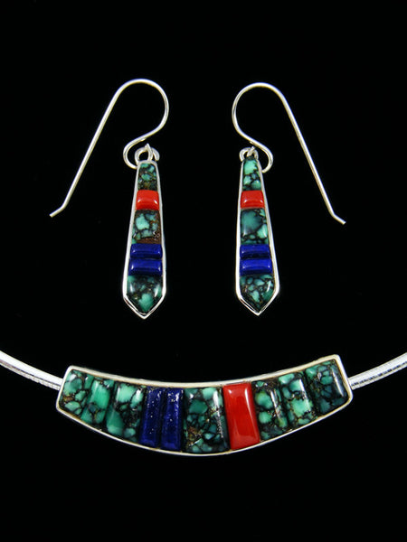 Native American Cobblestone Inlay Pendant and Earrings Set