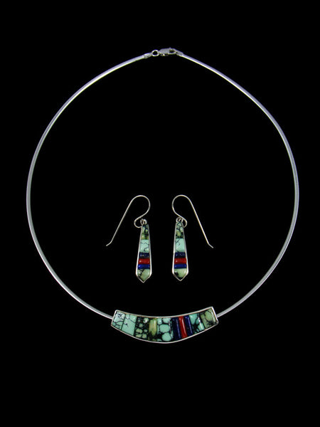 Native American Variscite Cobblestone Inlay Necklace and Earrings Set