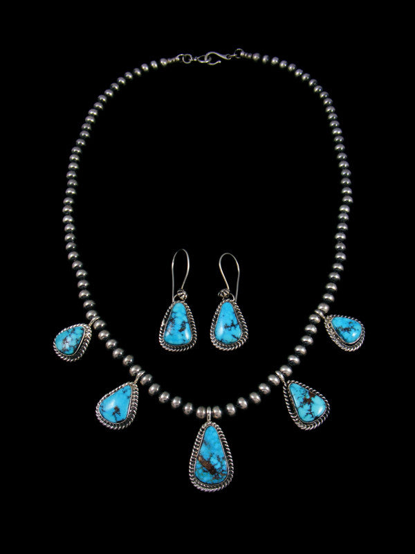 Kingman Turquoise Tear Drop Necklace and Earring Set