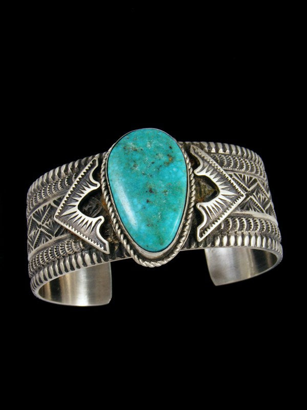 Native American Indian Jewelry Kingman Turquoise Sterling Silver Bracelet