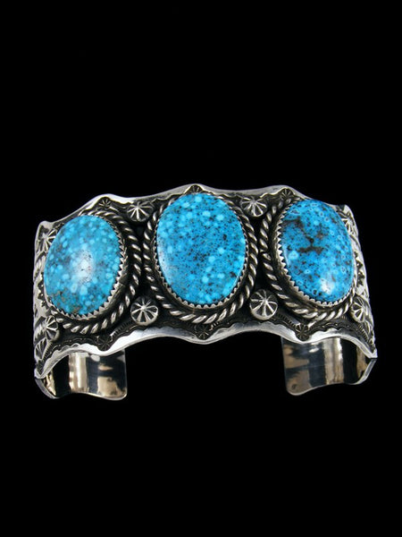 Native American Jewelry Stamped Kingman Turquoise Cuff Bracelet