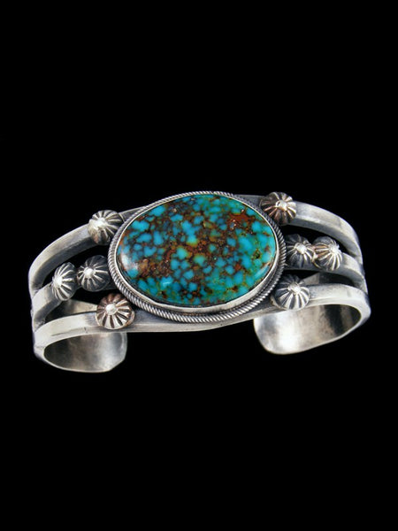 Native American Jewelry Kingman Turquoise Sterling Silver Bracelet