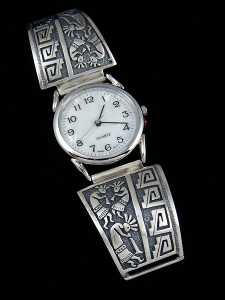 Native American Indian Jewelry Sterling Silver Kokopelli Men's Watch