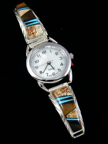 Native American Indian Jewelry Sterling Silver Ladies' Tiger Eye Inlay Watch