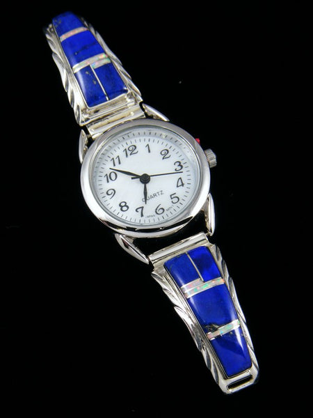 Native American Indian Jewelry Sterling Silver Ladies' Lapis Inlay Watch