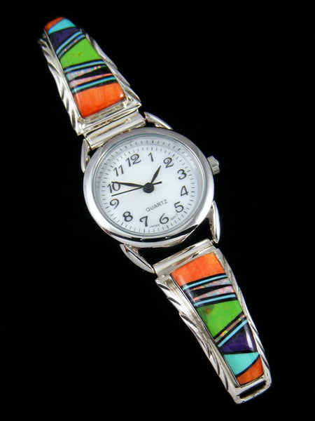 Native American Indian Jewelry Sterling Silver Ladies' Inlay Watch
